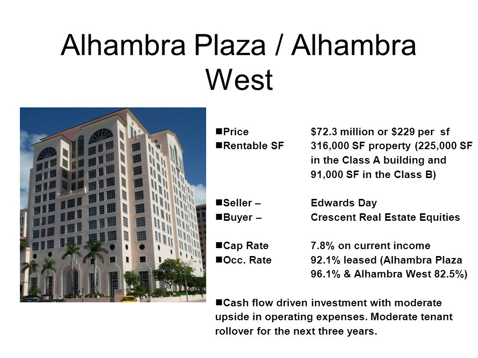 Alhambra Plaza / Alhambra West Price $72.3 million or $229 per sf Rentable SF316,000 SF property (225,000 SF in the Class A building and 91,000 SF in the Class B) Seller – Edwards Day Buyer – Crescent Real Estate Equities Cap Rate7.8% on current income Occ.