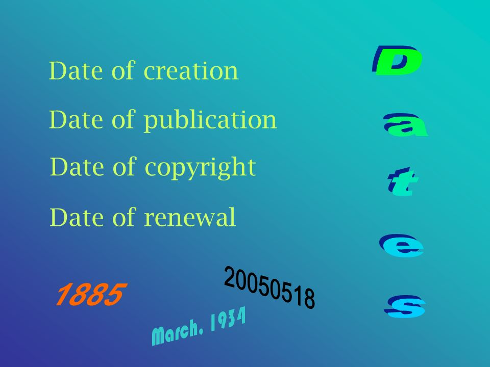 Date of creation Date of copyright Date of renewal Date of publication