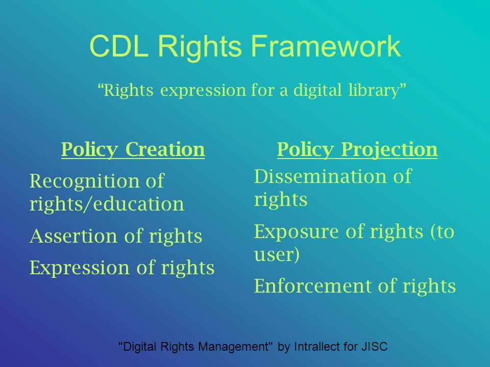CDL Rights Framework Policy Creation Recognition of rights/education Assertion of rights Expression of rights Policy Projection Dissemination of rights Exposure of rights (to user) Enforcement of rights Rights expression for a digital library Digital Rights Management by Intrallect for JISC