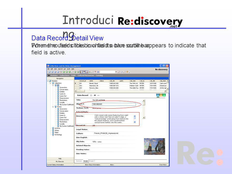 Introduci ng : Data Record: Detail View When the user clicks in a field a blue outline appears to indicate that field is active.