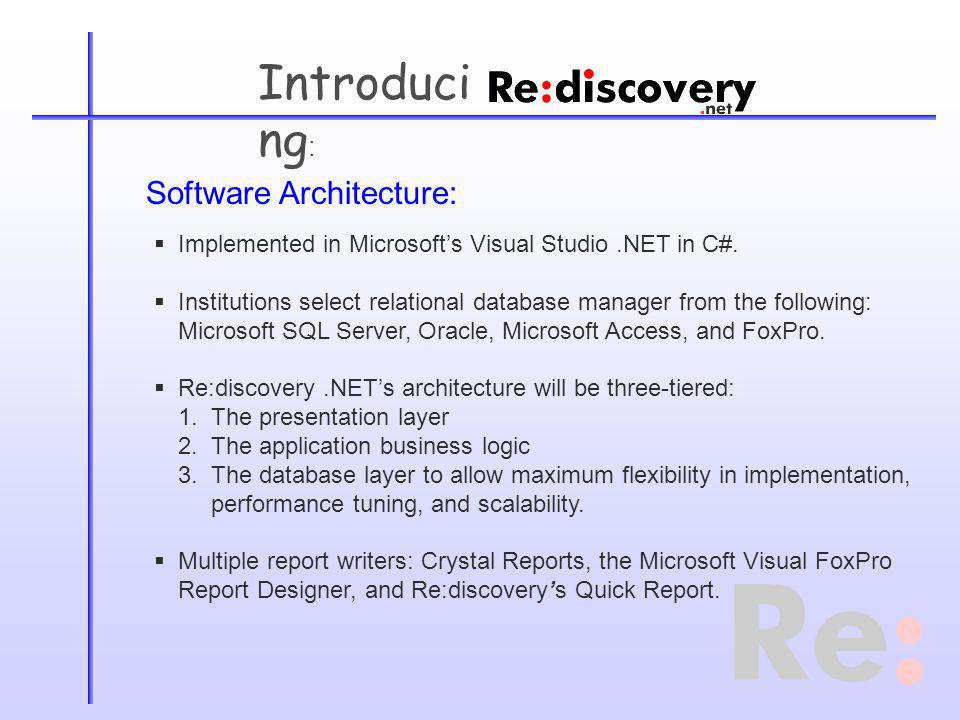 Introduci ng : Software Architecture: Implemented in Microsofts Visual Studio.NET in C#.