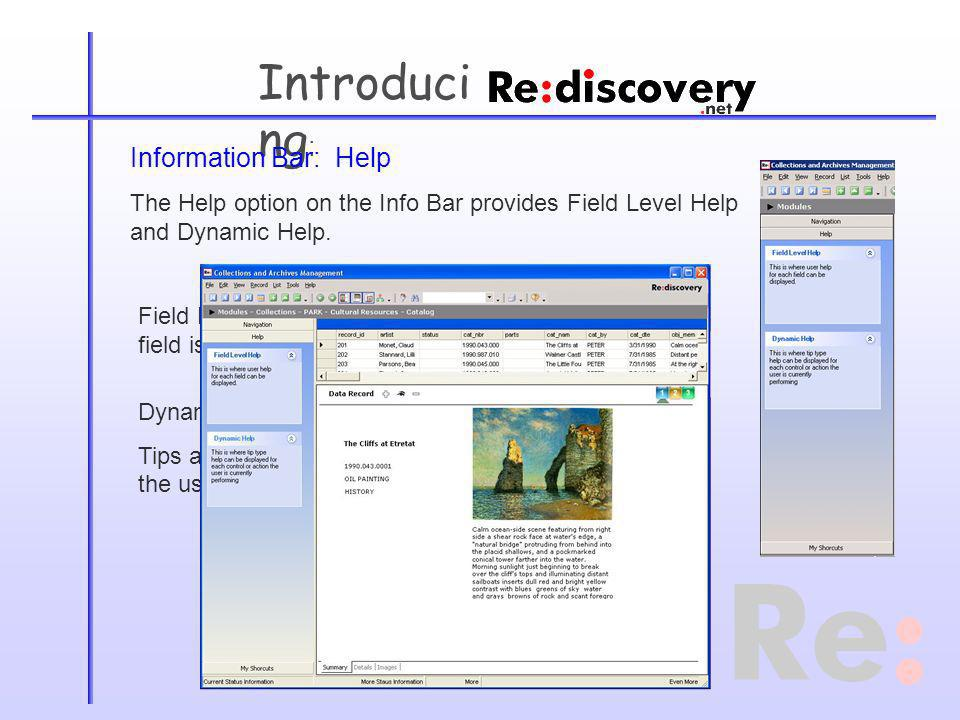 Introduci ng : Information Bar: Help The Help option on the Info Bar provides Field Level Help and Dynamic Help.