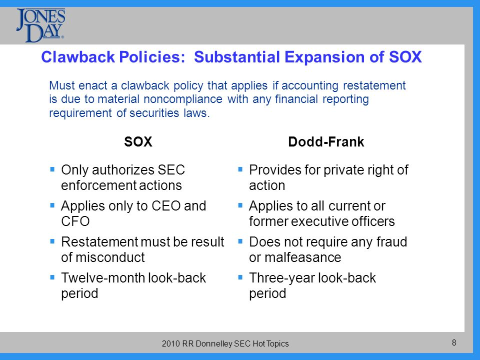 RR Donnelley SEC Hot Topics Clawback Policies: Substantial Expansion of SOX Must enact a clawback policy that applies if accounting restatement is due to material noncompliance with any financial reporting requirement of securities laws.