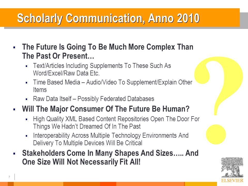 7 The Future Is Going To Be Much More Complex Than The Past Or Present… Text/Articles Including Supplements To These Such As Word/Excel/Raw Data Etc.