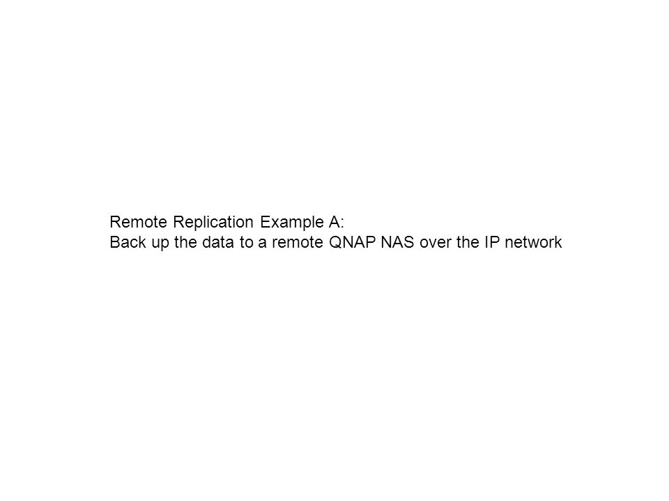 Remote Replication Example A: Back up the data to a remote QNAP NAS over the IP network