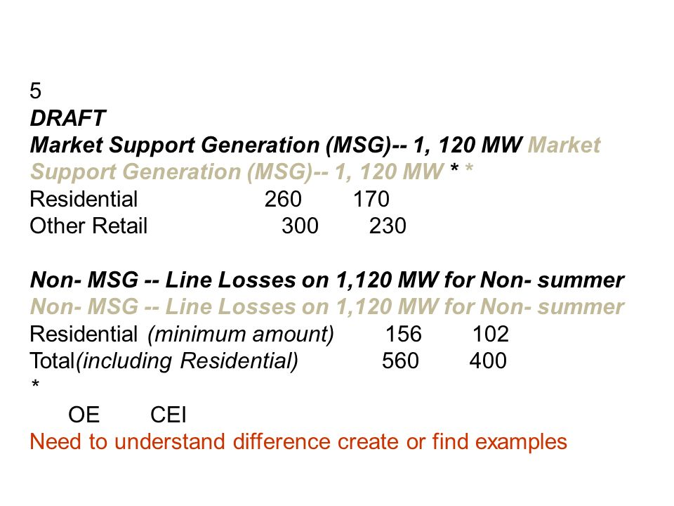 5 DRAFT Market Support Generation (MSG)-- 1, 120 MW Market Support Generation (MSG)-- 1, 120 MW * * Residential Residential Other Retail Other Retail Non- MSG -- Line Losses on 1,120 MW for Non- summer Residential (minimum amount) (min Total(including Residential) (includi * f Supplemental Stipulation determines allocation OE OE CEI CEI Need to understand difference create or find examples