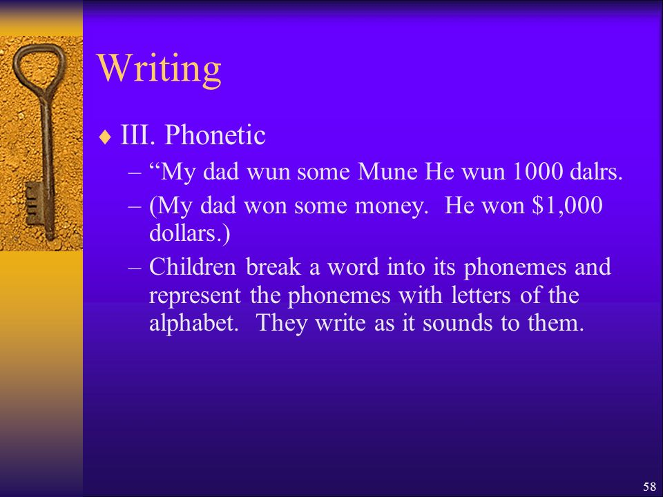 58 Writing III. Phonetic –My dad wun some Mune He wun 1000 dalrs.