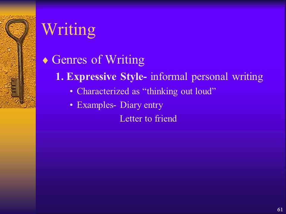 61 Writing Genres of Writing 1.