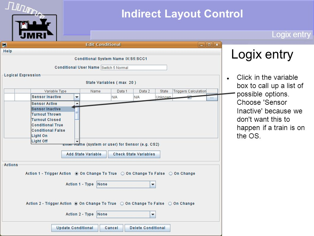 Indirect Layout Control Logix entry Click in the variable box to call up a list of possible options.