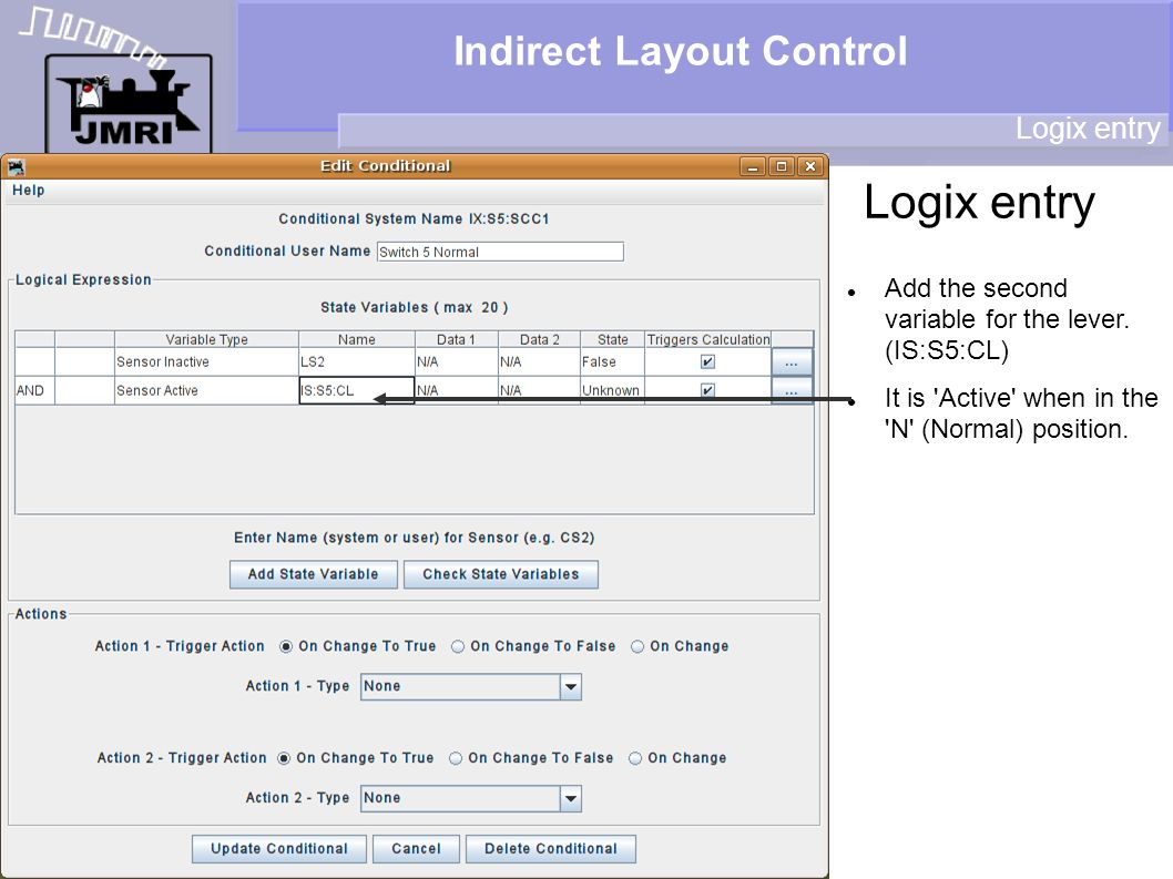 Indirect Layout Control Logix entry Add the second variable for the lever.