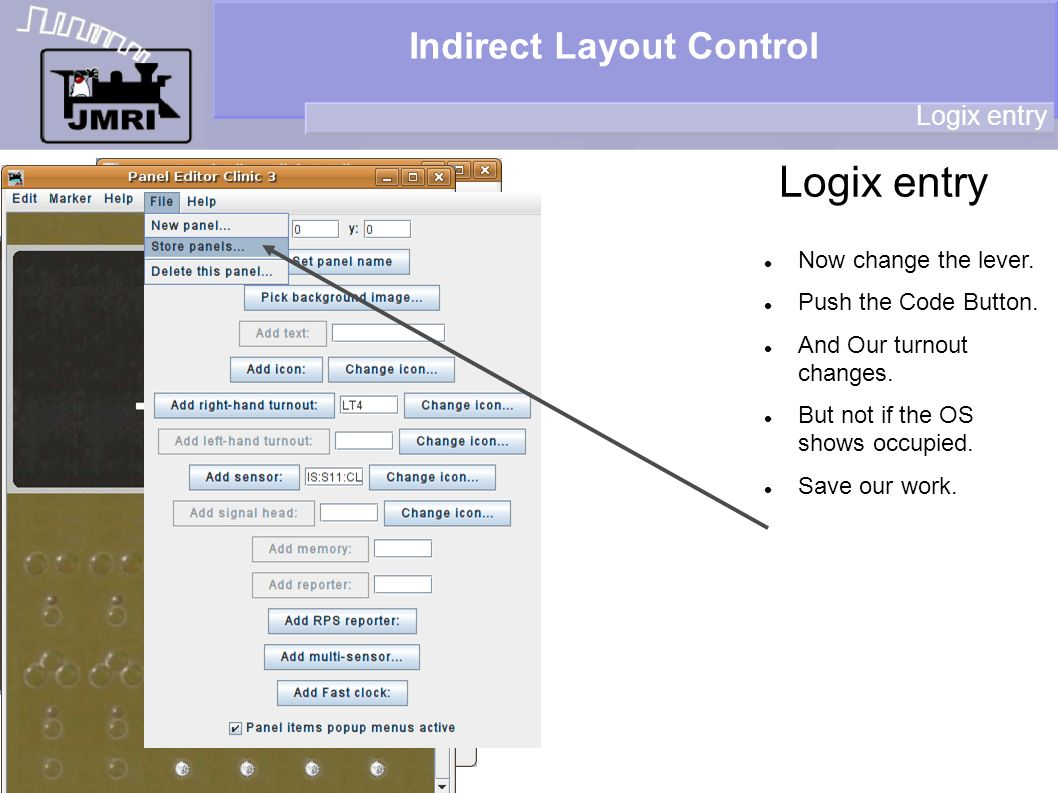 Indirect Layout Control Logix entry Now change the lever.