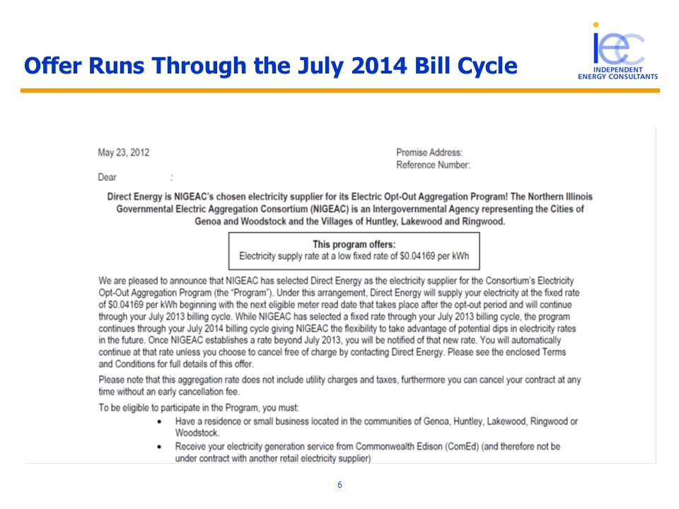 Offer Runs Through the July 2014 Bill Cycle 6