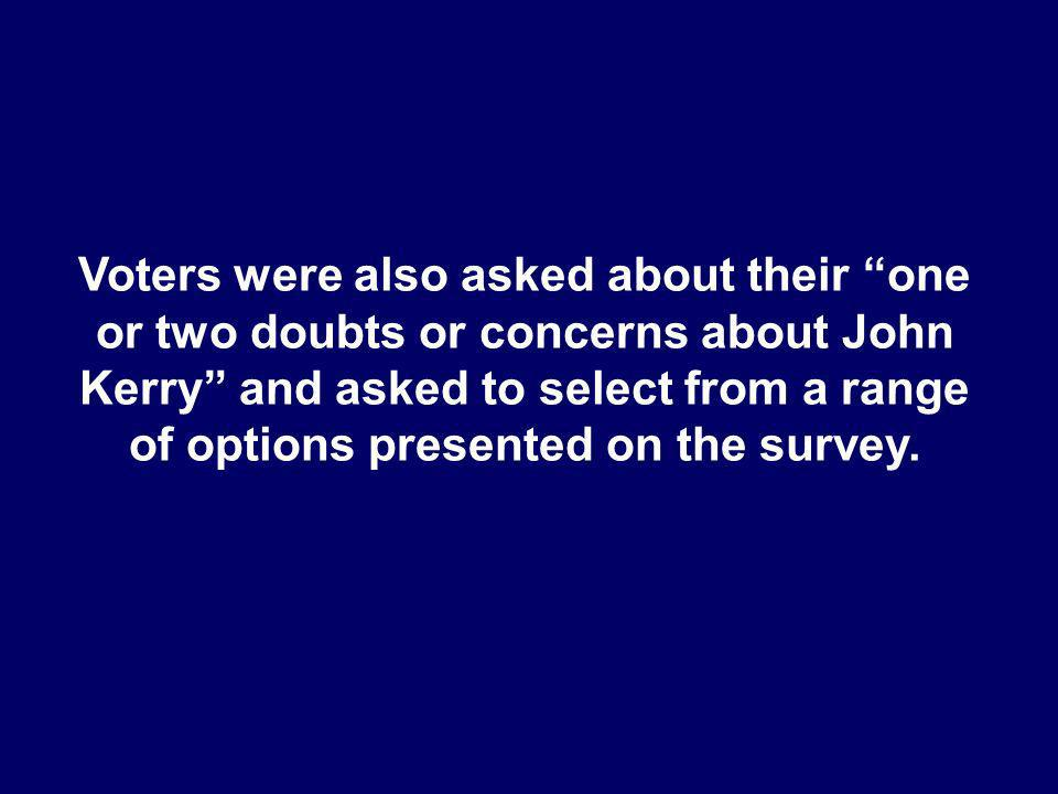 Voters were also asked about their one or two doubts or concerns about John Kerry and asked to select from a range of options presented on the survey.