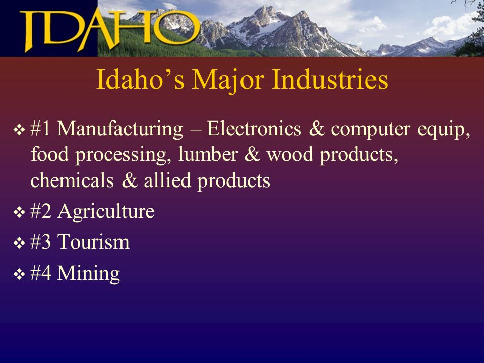 Idahos Major Industries #1 Manufacturing – Electronics & computer equip, food processing, lumber & wood products, chemicals & allied products #2 Agriculture #3 Tourism #4 Mining