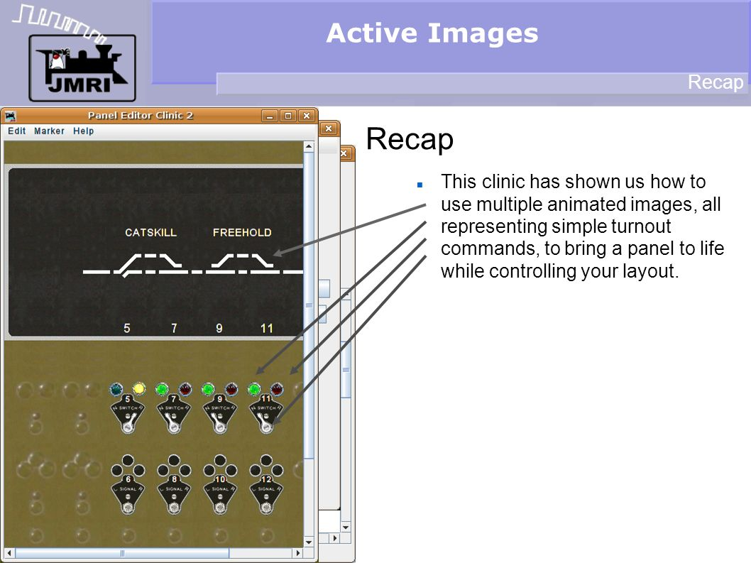 Active Images Recap This clinic has shown us how to use multiple animated images, all representing simple turnout commands, to bring a panel to life while controlling your layout.