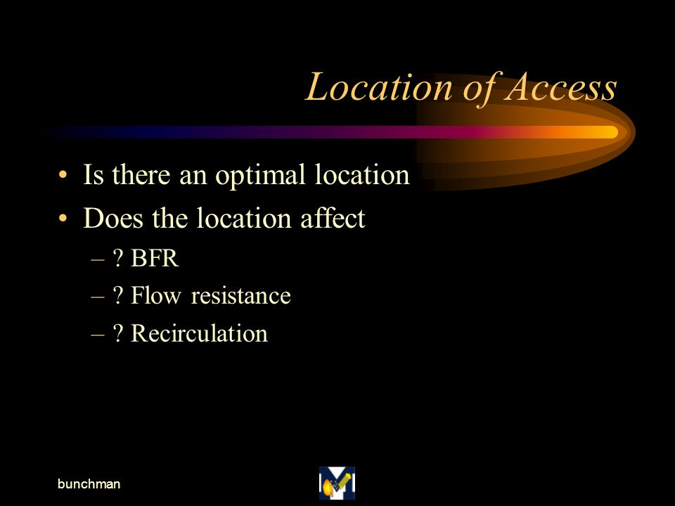 bunchman Location of Access Is there an optimal location Does the location affect –.