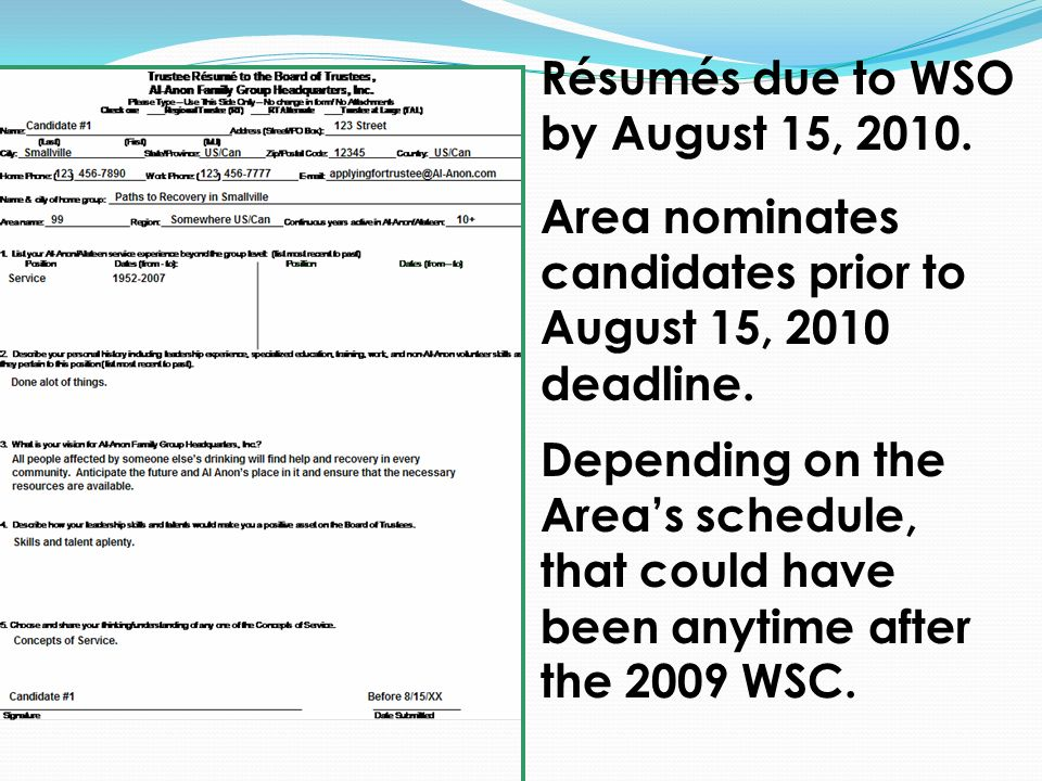 Résumés due to WSO by August 15, Area nominates candidates prior to August 15, 2010 deadline.