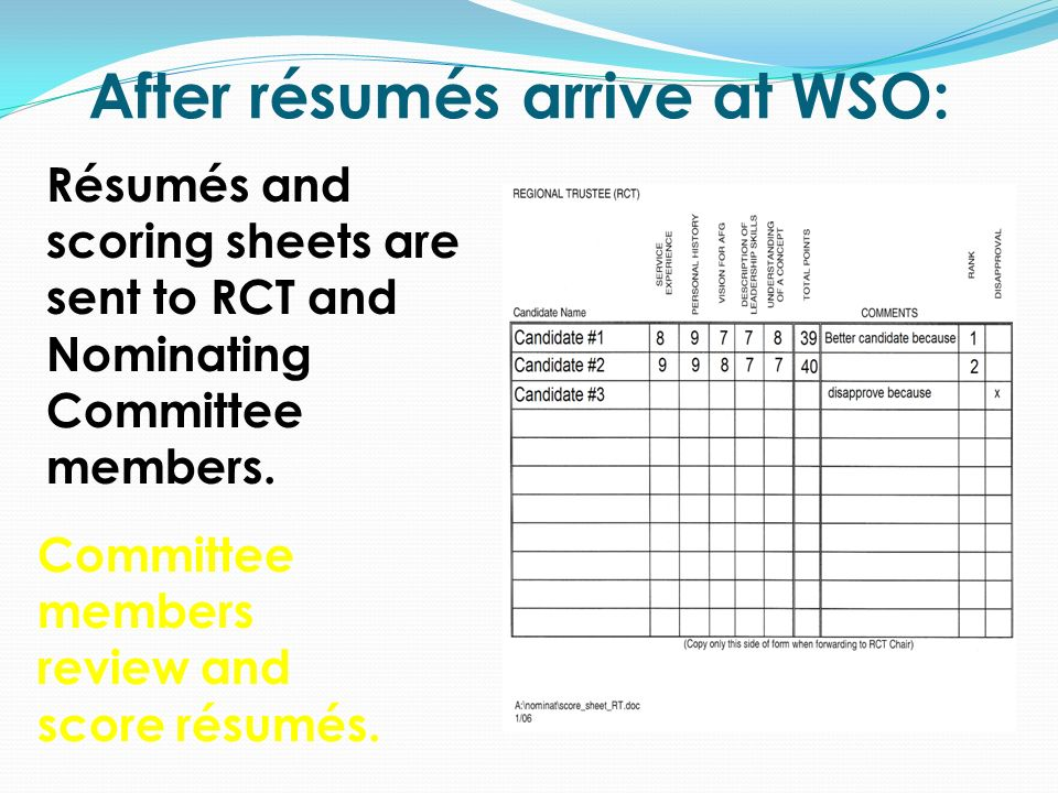 After résumés arrive at WSO: Résumés and scoring sheets are sent to RCT and Nominating Committee members.