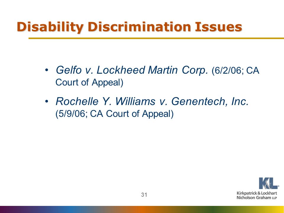31 Disability Discrimination Issues Gelfo v. Lockheed Martin Corp.