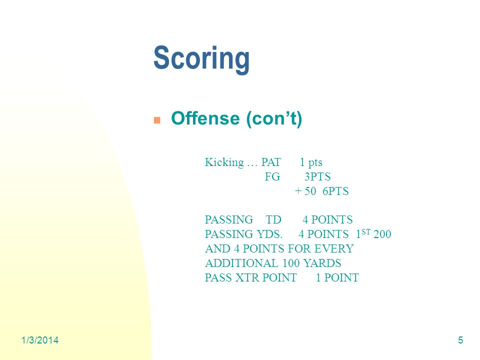 1/3/20145 Scoring Offense (cont) Kicking … PAT 1 pts FG 3PTS + 50 6PTS PASSING TD 4 POINTS PASSING YDS.