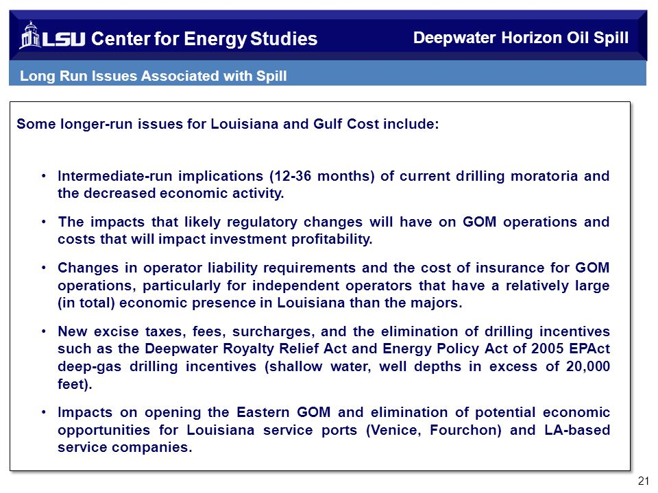 Center for Energy Studies Some longer-run issues for Louisiana and Gulf Cost include: Intermediate-run implications (12-36 months) of current drilling moratoria and the decreased economic activity.