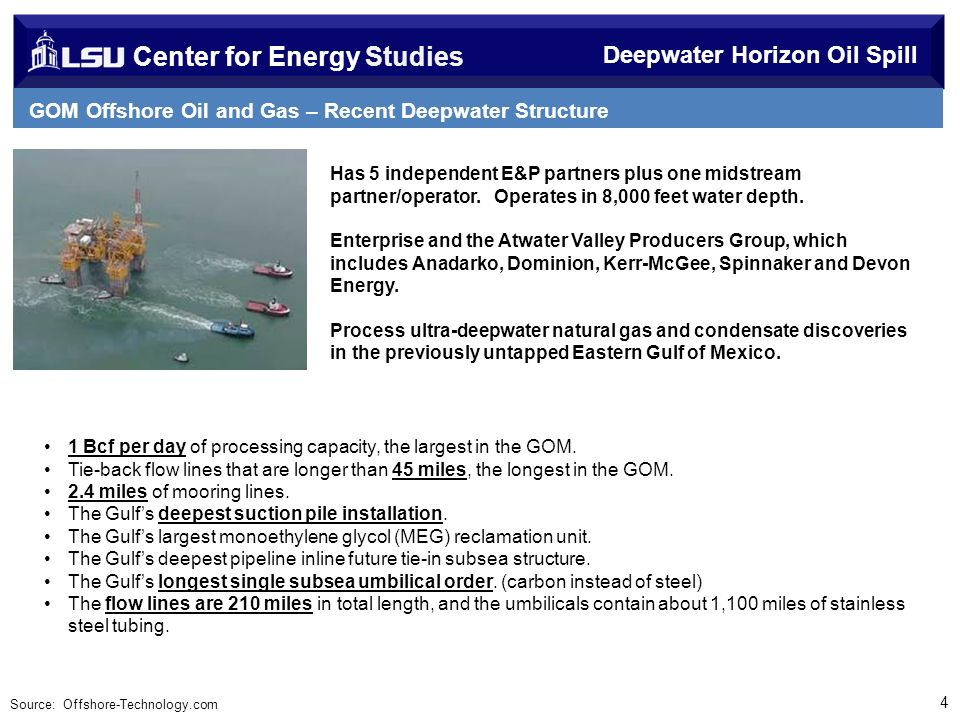 Center for Energy Studies Deepwater Horizon Oil Spill GOM Offshore Oil and Gas – Recent Deepwater Structure Development 4 Has 5 independent E&P partners plus one midstream partner/operator.