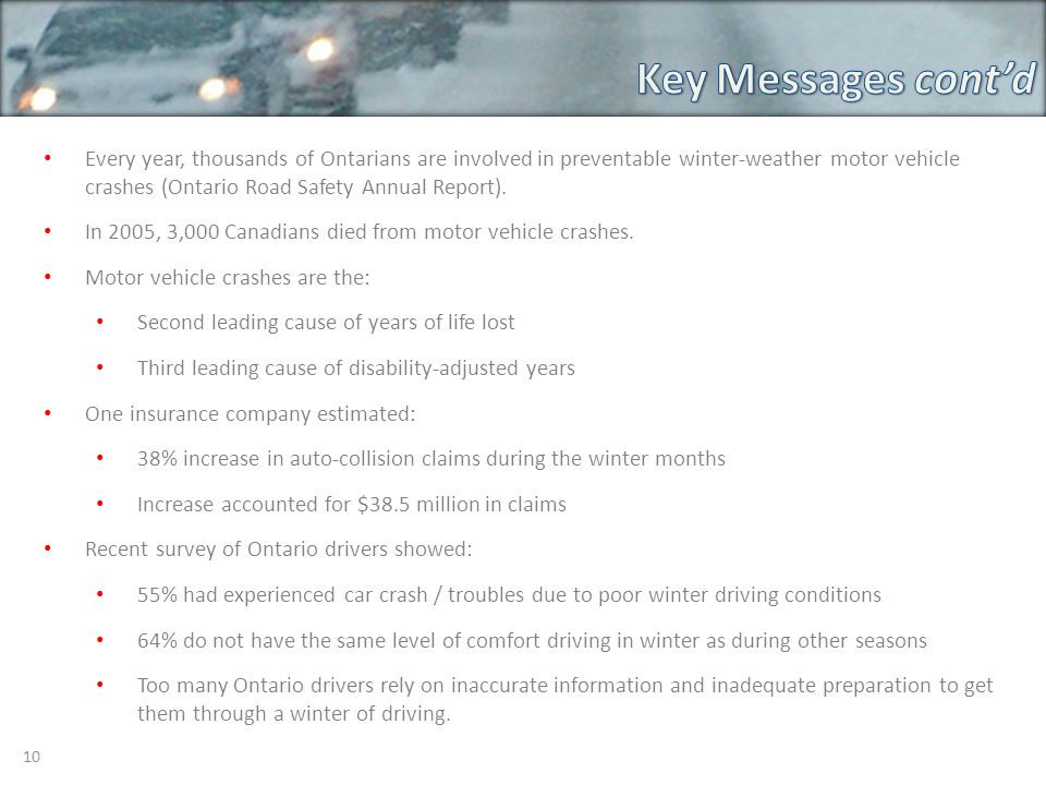 10 Every year, thousands of Ontarians are involved in preventable winter-weather motor vehicle crashes (Ontario Road Safety Annual Report).