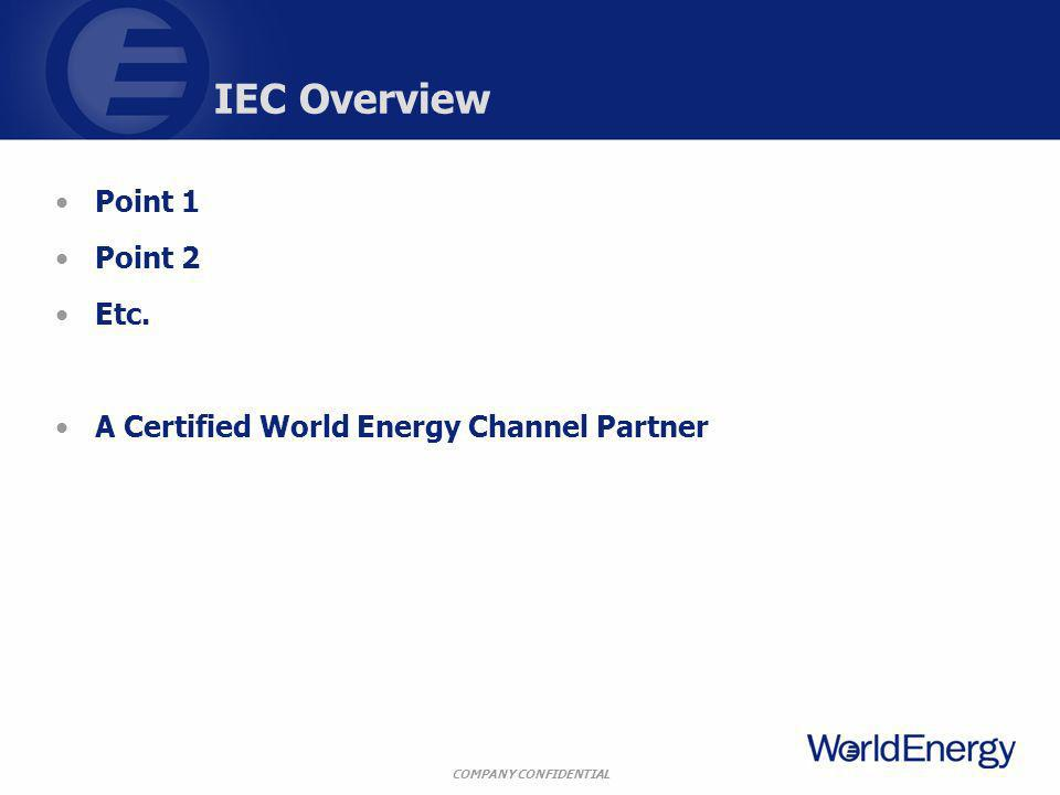COMPANY CONFIDENTIAL IEC Overview Point 1 Point 2 Etc. A Certified World Energy Channel Partner