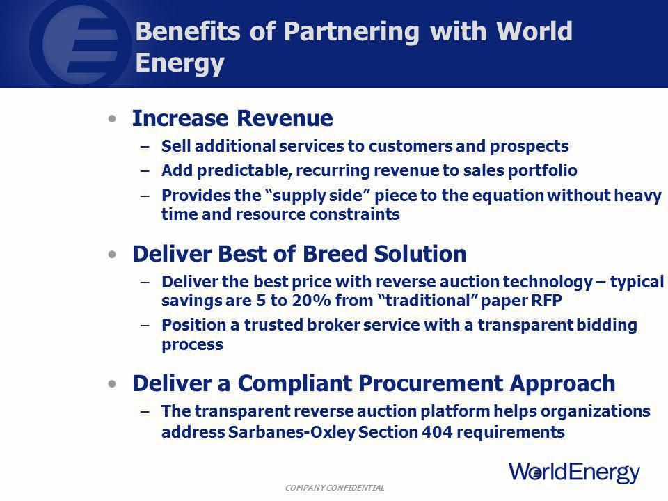 COMPANY CONFIDENTIAL Benefits of Partnering with World Energy Increase Revenue –Sell additional services to customers and prospects –Add predictable, recurring revenue to sales portfolio –Provides the supply side piece to the equation without heavy time and resource constraints Deliver Best of Breed Solution –Deliver the best price with reverse auction technology – typical savings are 5 to 20% from traditional paper RFP –Position a trusted broker service with a transparent bidding process Deliver a Compliant Procurement Approach –The transparent reverse auction platform helps organizations address Sarbanes-Oxley Section 404 requirements