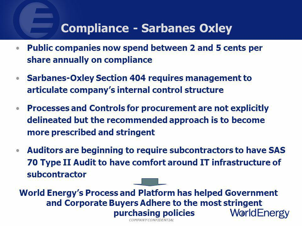 COMPANY CONFIDENTIAL Compliance - Sarbanes Oxley Public companies now spend between 2 and 5 cents per share annually on compliance Sarbanes-Oxley Section 404 requires management to articulate companys internal control structure Processes and Controls for procurement are not explicitly delineated but the recommended approach is to become more prescribed and stringent Auditors are beginning to require subcontractors to have SAS 70 Type II Audit to have comfort around IT infrastructure of subcontractor World Energys Process and Platform has helped Government and Corporate Buyers Adhere to the most stringent purchasing policies