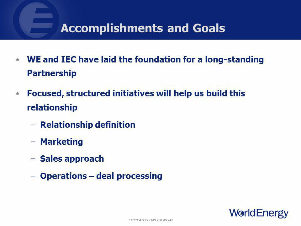 COMPANY CONFIDENTIAL Accomplishments and Goals WE and IEC have laid the foundation for a long-standing Partnership Focused, structured initiatives will help us build this relationship –Relationship definition –Marketing –Sales approach –Operations – deal processing