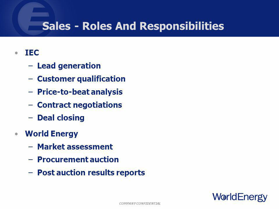 COMPANY CONFIDENTIAL Sales - Roles And Responsibilities IEC –Lead generation –Customer qualification –Price-to-beat analysis –Contract negotiations –Deal closing World Energy –Market assessment –Procurement auction –Post auction results reports
