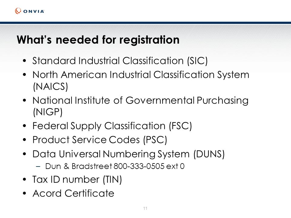 11 Whats needed for registration Standard Industrial Classification (SIC) North American Industrial Classification System (NAICS) National Institute of Governmental Purchasing (NIGP) Federal Supply Classification (FSC) Product Service Codes (PSC) Data Universal Numbering System (DUNS) –Dun & Bradstreet 800-333-0505 ext 0 Tax ID number (TIN) Acord Certificate