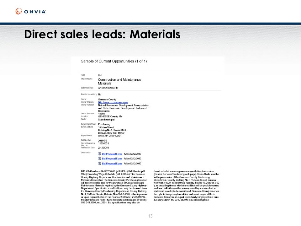 13 Direct sales leads: Materials
