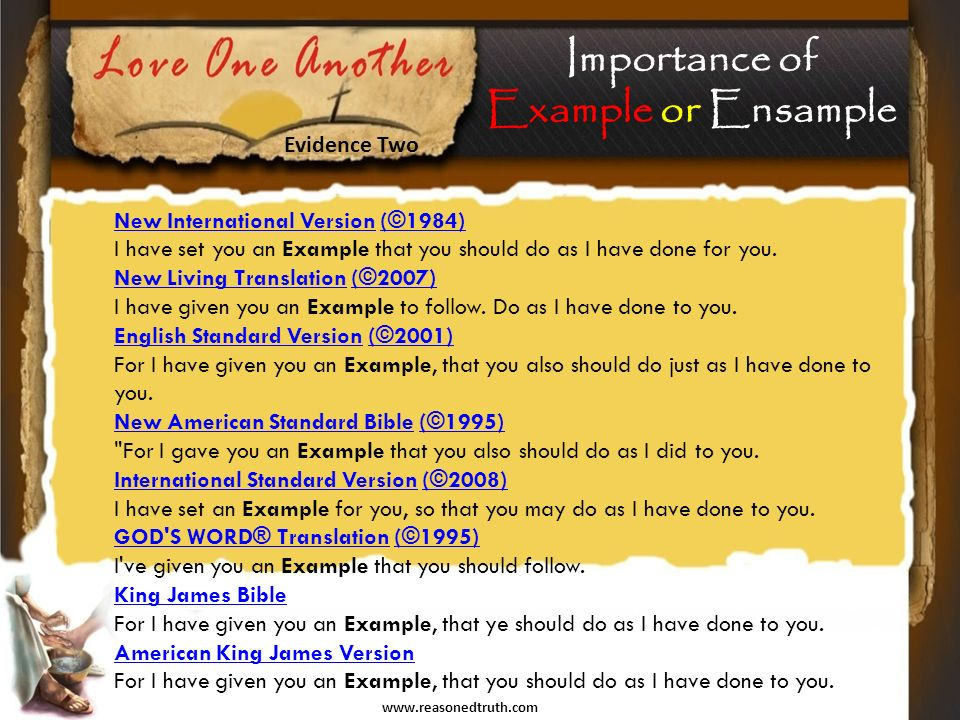 www.reasonedtruth.com New International VersionNew International Version (©1984) I have set you an Example that you should do as I have done for you.(©1984) New Living TranslationNew Living Translation (©2007) I have given you an Example to follow.