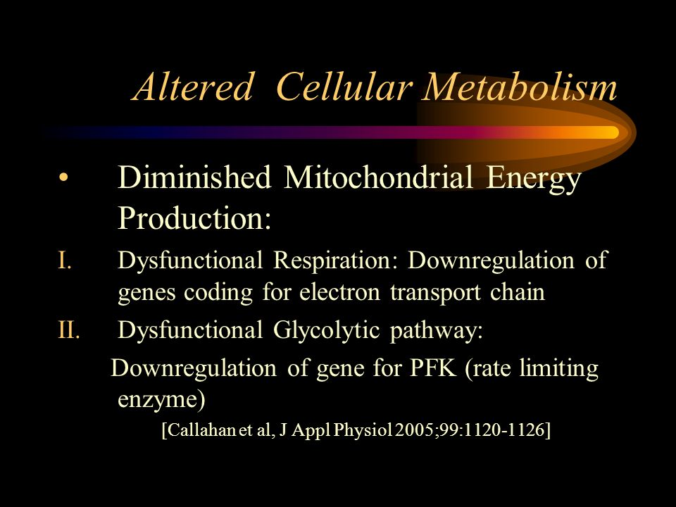 Altered Cellular Metabolism Diminished Mitochondrial Energy Production: I.Dysfunctional Respiration: Downregulation of genes coding for electron transport chain II.Dysfunctional Glycolytic pathway: Downregulation of gene for PFK (rate limiting enzyme) [Callahan et al, J Appl Physiol 2005;99: ]