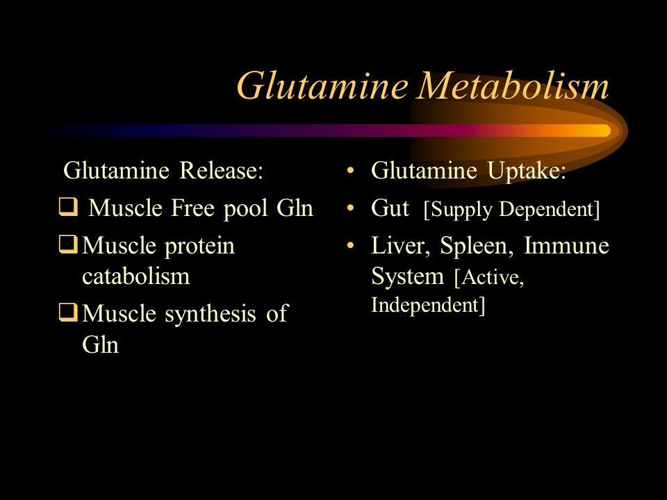 Glutamine Metabolism Glutamine Release: Muscle Free pool Gln Muscle protein catabolism Muscle synthesis of Gln Glutamine Uptake: Gut [Supply Dependent] Liver, Spleen, Immune System [Active, Independent]