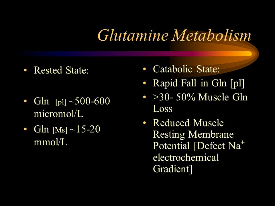 Glutamine Metabolism Rested State: Gln [pl] ~ micromol/L Gln [Ms] ~15-20 mmol/L Catabolic State: Rapid Fall in Gln [pl] >30- 50% Muscle Gln Loss Reduced Muscle Resting Membrane Potential [Defect Na + electrochemical Gradient]