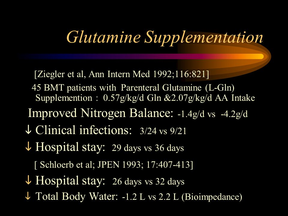 Glutamine Supplementation [Ziegler et al, Ann Intern Med 1992;116:821] 45 BMT patients with Parenteral Glutamine (L-Gln) Supplemention : 0.57g/kg/d Gln &2.07g/kg/d AA Intake Improved Nitrogen Balance: -1.4g/d vs -4.2g/d Clinical infections: 3/24 vs 9/21 Hospital stay: 29 days vs 36 days [ Schloerb et al; JPEN 1993; 17: ] Hospital stay: 26 days vs 32 days Total Body Water: -1.2 L vs 2.2 L (Bioimpedance)
