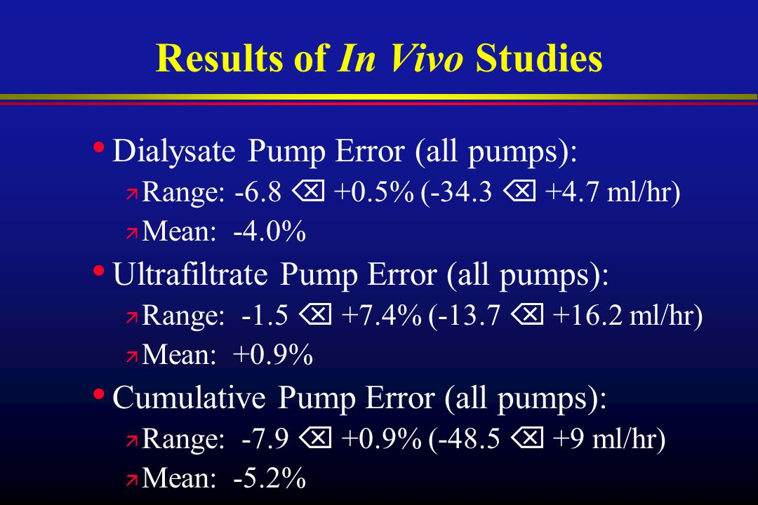 Results of In Vivo Studies Dialysate Pump Error (all pumps): ä Range: -6.8 +0.5% (-34.3 +4.7 ml/hr) ä Mean: -4.0% Ultrafiltrate Pump Error (all pumps): ä Range: -1.5 +7.4% (-13.7 +16.2 ml/hr) ä Mean: +0.9% Cumulative Pump Error (all pumps): ä Range: -7.9 +0.9% (-48.5 +9 ml/hr) ä Mean: -5.2%