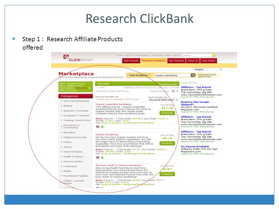 Research ClickBank Step 1 : Research Affiliate Products offered