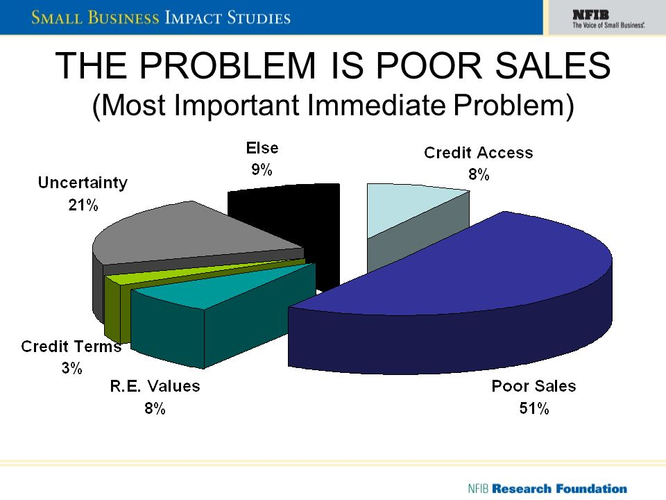 THE PROBLEM IS POOR SALES (Most Important Immediate Problem)