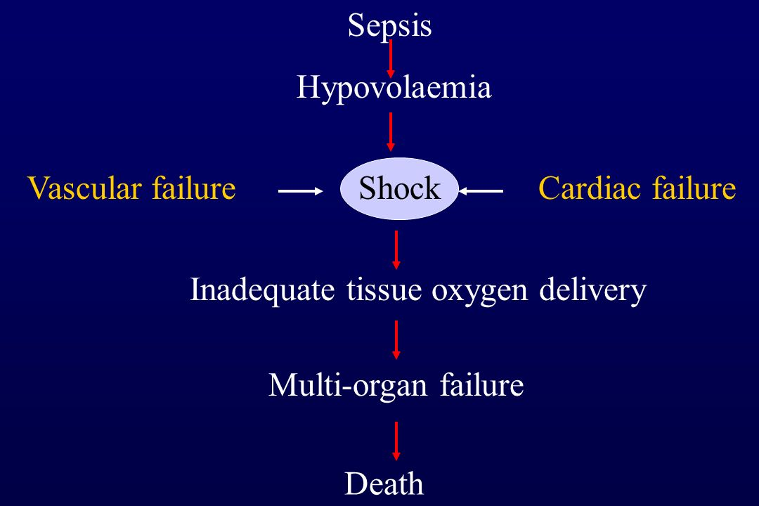 Shock Inadequate tissue oxygen delivery Multi-organ failure Death Vascular failureCardiac failure Hypovolaemia Sepsis