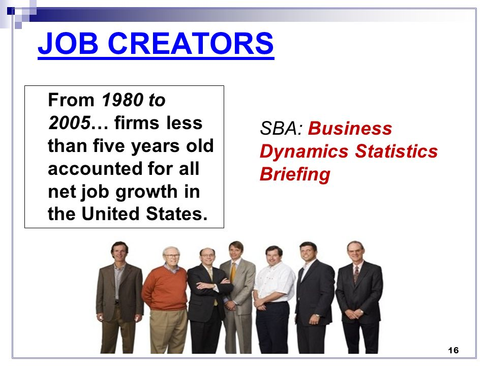 JOB CREATORS From 1980 to 2005… firms less than five years old accounted for all net job growth in the United States.
