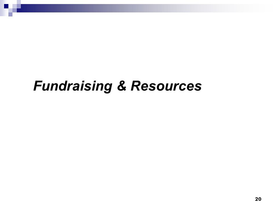 Fundraising & Resources 20