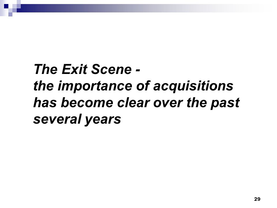 The Exit Scene - the importance of acquisitions has become clear over the past several years 29