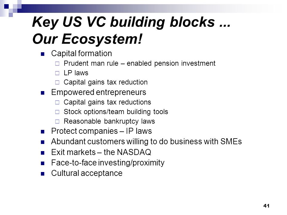 Key US VC building blocks... Our Ecosystem.