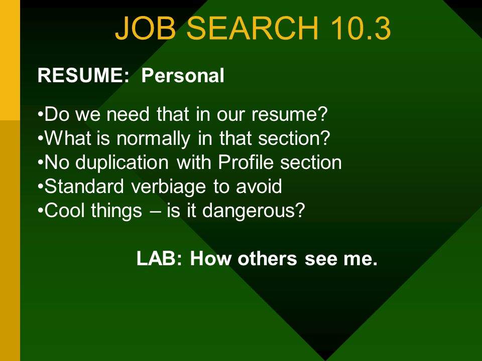 JOB SEARCH 10.3 RESUME: Personal Do we need that in our resume.
