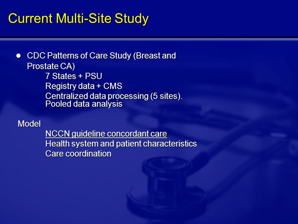 Current Multi-Site Study CDC Patterns of Care Study (Breast and CDC Patterns of Care Study (Breast and Prostate CA) Prostate CA) 7 States + PSU Registry data + CMS Centralized data processing (5 sites).