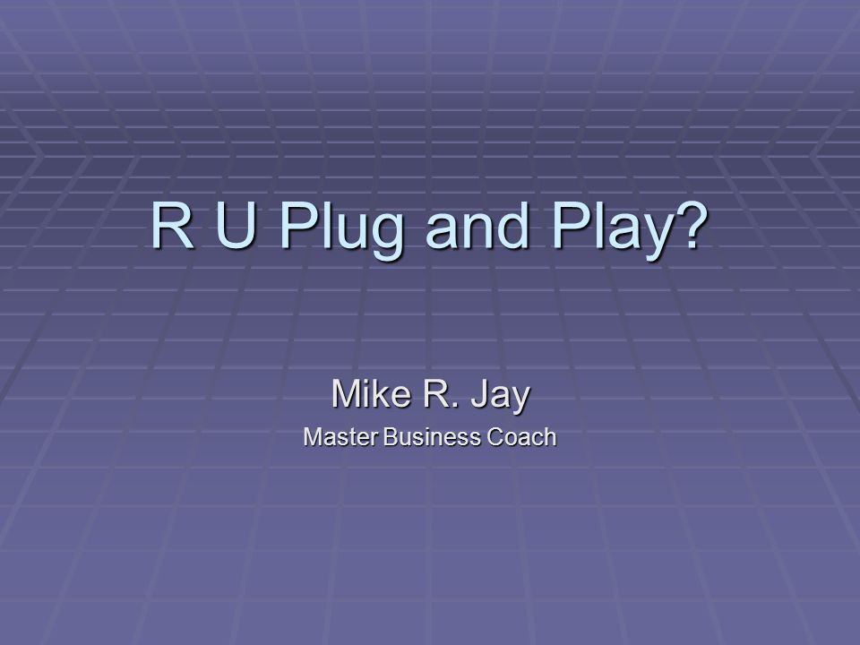 R U Plug and Play Mike R. Jay Master Business Coach